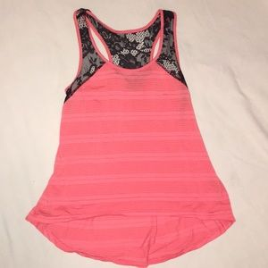 Coral summer tank top with black lace on sleeves